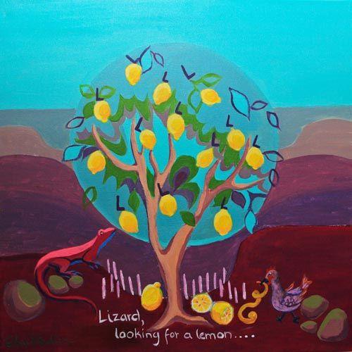 L is for Lizard....'Lizard looking for a lemon'