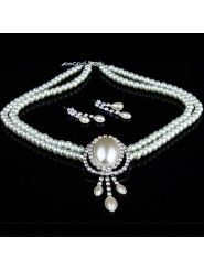 Shining Pearls and Rhinestones Wedding Jewelry Set, Including Earrings and Necklace