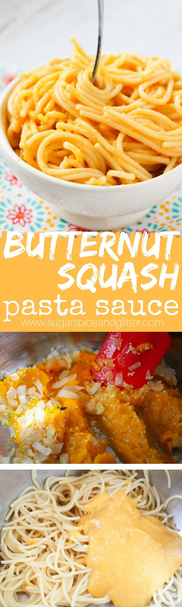 Butternut Squash Spaghetti Sauce - A dairy-free, super creamy and rich sauce with that delicious nutty, sweet yet earthy flavor of butternut squash. A unique pasta sauce recipe your kids will love