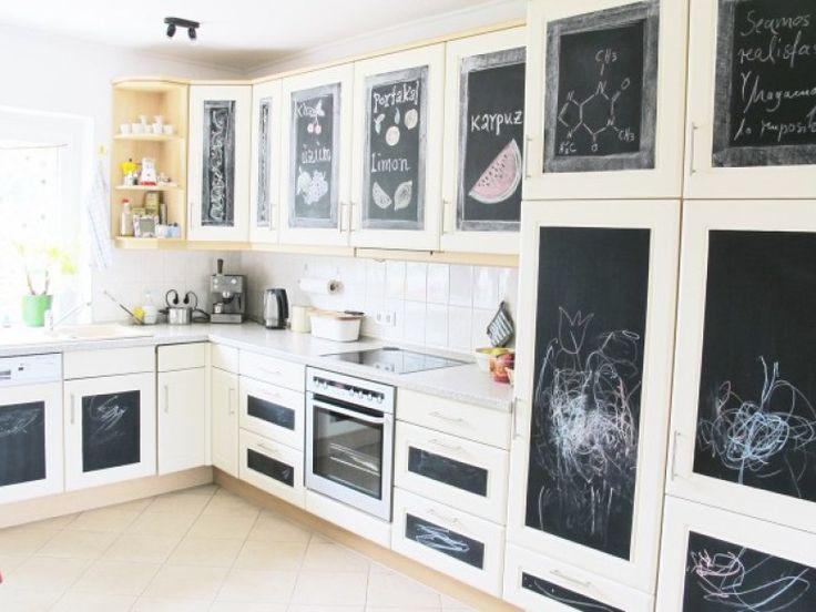 Nachher, Küche, Makeover, Küchenfronten, Günstig, Tafelfolie, Zeichnungen…