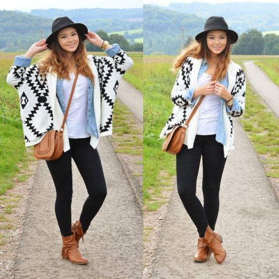 Aztec white with black cardigan,What to wear in Thanks-giving day http://www.justtrendygirls.com/what-to-wear-in-thanks-giving-day/