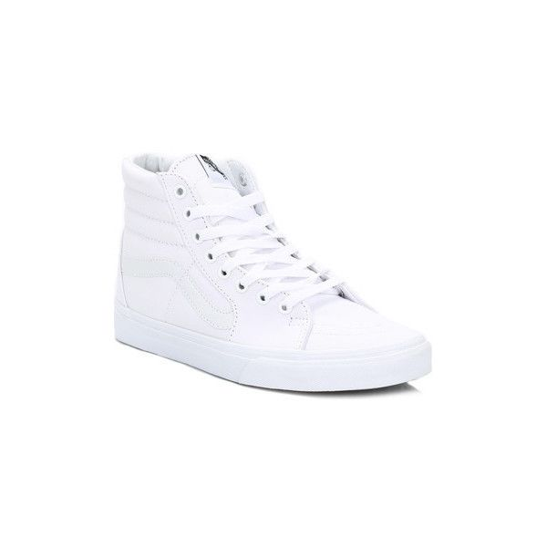 Vans White SK8-Hi Canvas Trainers Skate Shoes (Trainers) ($70) ❤ liked on Polyvore featuring men's fashion, men's shoes, men's sneakers, men, shoes, skate shoes, white, mens shoes, mens canvas sneakers and mens white shoes