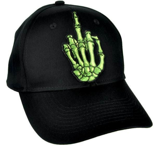 5a7fe291b38 Green Skeleton Hand Middle Finger Hat Baseball Cap Skater Thrasher Clothing