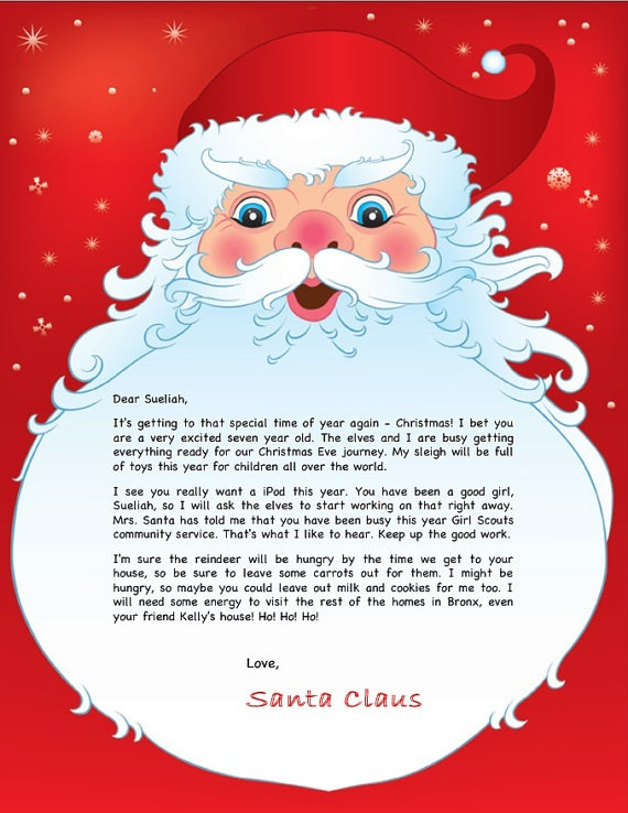 Personalized letter from Santa Claus   Christmas   Pinterest