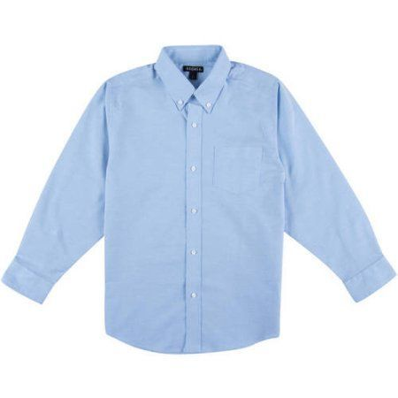 George School Uniform Boys Husky Size Long Sleeve Button-Up Oxford Shirt, Online Exclusive, Blue