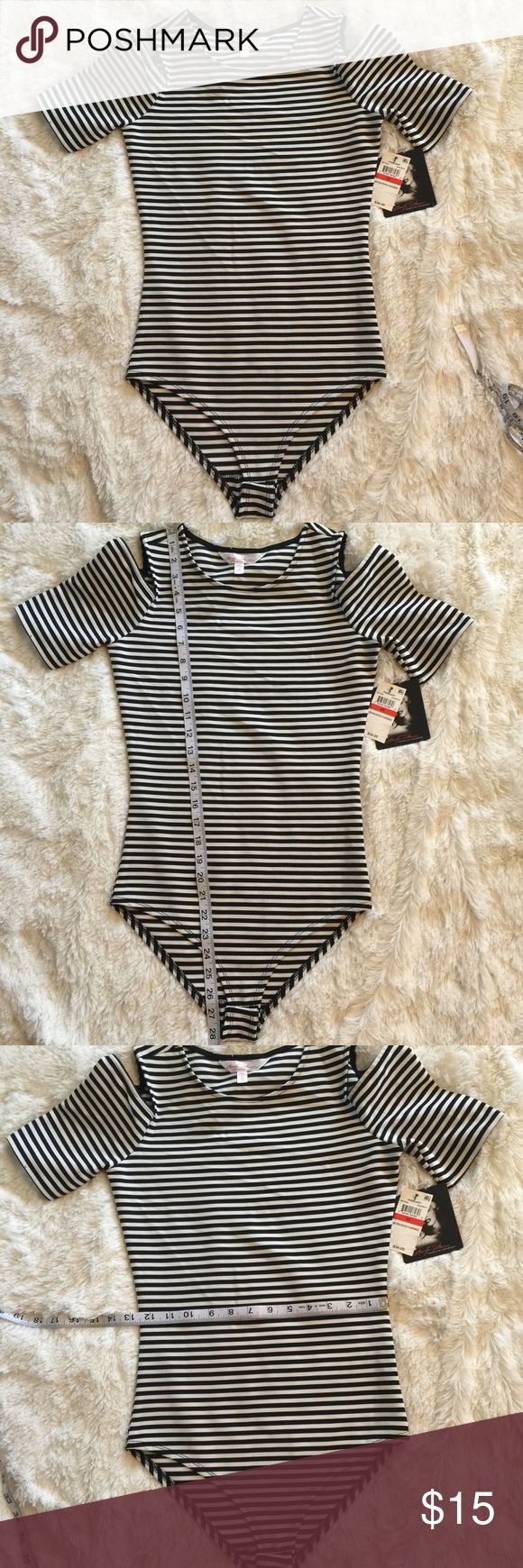 Striped Body Suit Extra small.. BLACK AND WHITE STRIPED COLD SHOULDER SHORT SLEEVE..TTS XS Tops Tank Tops