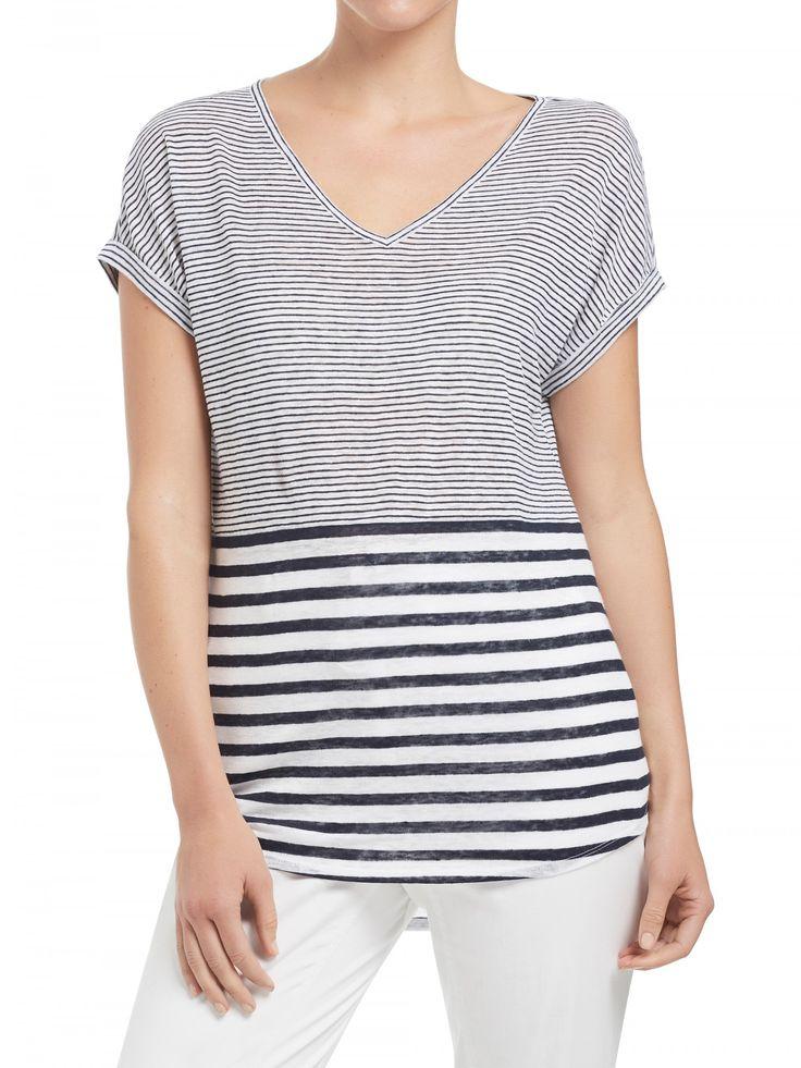 Stripe Linen V Neck T-Shirt