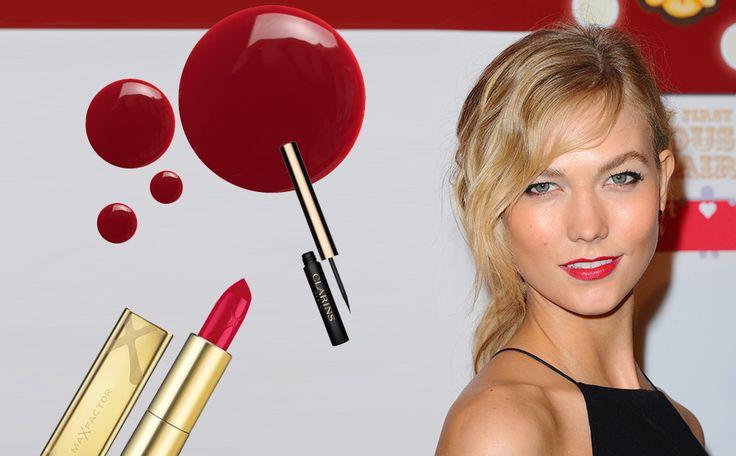 Look like Karlie Kloss in een paar simpele stappen. Het enige wat je nodig hebt: een goede foundation, mooie zwarte eyeliner, een mascara en natuurlijk knal rode lippenstift.