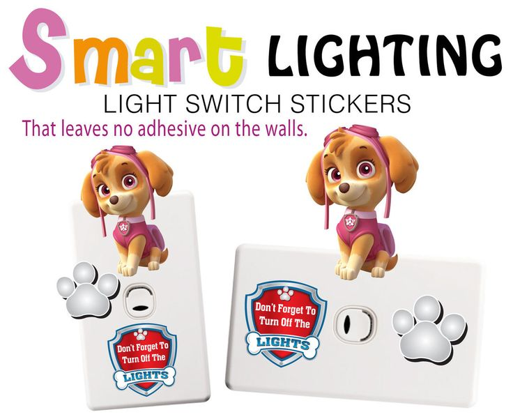 Wholesale Printers,  - Skye Paw Patrol Light Switch Wall Stickers - Totally Movable, $3.99 (http://www.wholesaleprinters.com.au/skye-paw-patrol-light-switch-wall-stickers-totally-movable/)