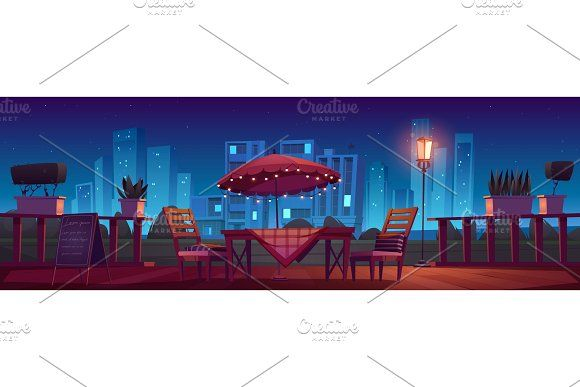 Cafe or restaurant terrace at night in 2020 Outdoor cafeteria Terrace Restaurant