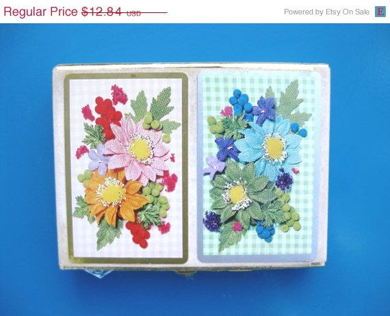 Flower Power 1970's Mixed Vintage Congress/Stardust Playing Cards Card Decks Pinochle Cards - pinned by pin4etsy.com