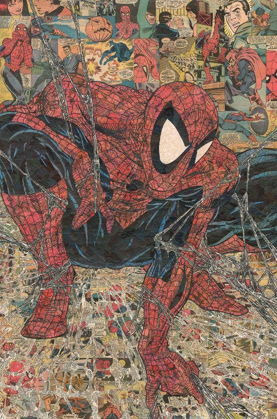 Spider-Man (después de McFarlane) Collage Comic - impresión de Giclee