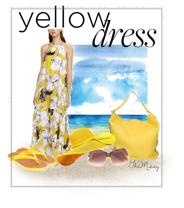 """yellow beach dress"" by caroline-buster-brown on Polyvore featuring Orciani, Sama Eyewear and Lauren Ralph Lauren"