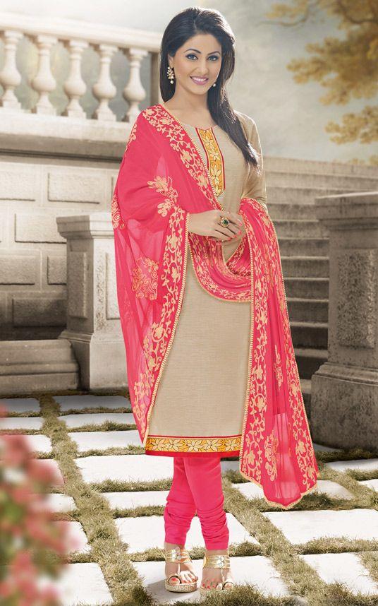 $23.78Hina Khan Beige Cotton Churidar Suit 56787