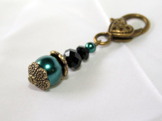 Antiqued Bronze Clip-on Charm with Teal Pearls and Black Crystals