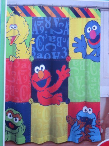 Elmo Bedroom Decorating Ideas: Sesame Street Microfiber Shower Curtain