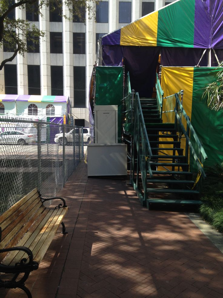 Amramp goes to Mardi Gras! Bill Freshwater and the Amramp Baton Rouge team made this viewing stand wheelchair accessible with a vertical platform lift one day rental along the Mardi Gras parade route in New Orleans, LA.