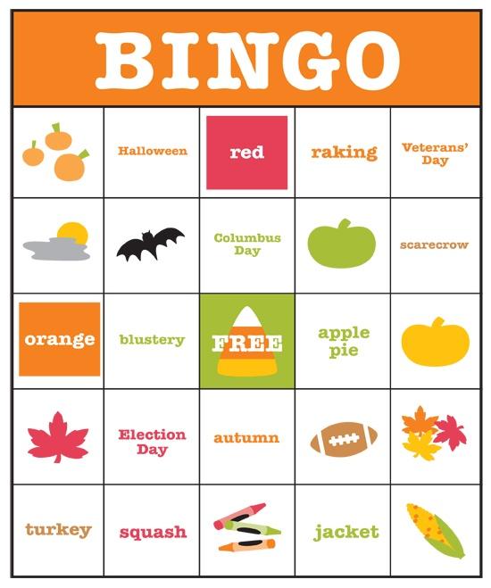 Words Related To Autumn: Hotcakes: Fall Bingo Game