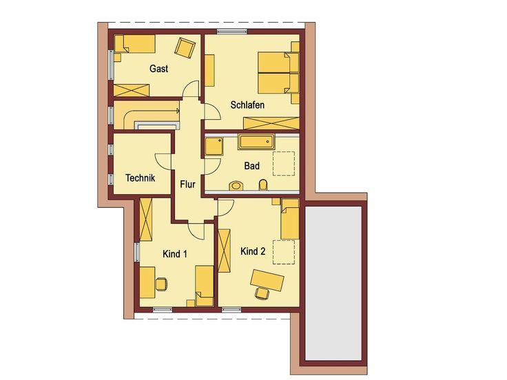 Grundriss Dachgeschoss Einfamilienhaus mit Einliegerwohnung