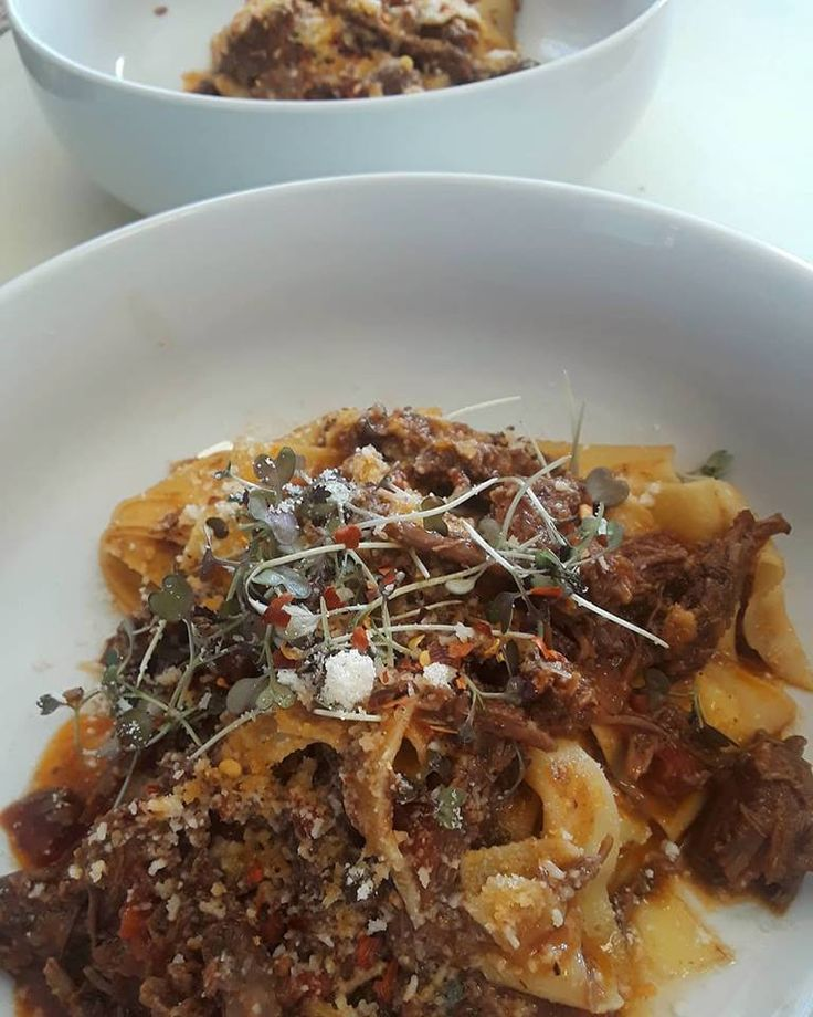 Slow and low. Short rib ragout. House made pappardelle with a short rib ragout, mustard green micros, parmesan reggiano cheese and fermented red pepper flakes.  The short rib was cold brined for 4 days in our bloody mary mix and the slow cooked in marinara.  @totten_family_farm @farmamdforknj  #pasta,#shortrib,#meat,#foodstagram  #eatlocal,#eatfamous,#delish,#delicious  #eat,#food,#foodblogger,#eatlocal,#nyc #insta,#instagood,#instapic,#eeeeeats…