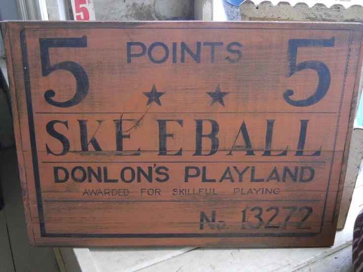 Donlon's Playland Skeeball *5 Points* Amusement Park Ticket Wooden Sign Wood #NaivePrimitive