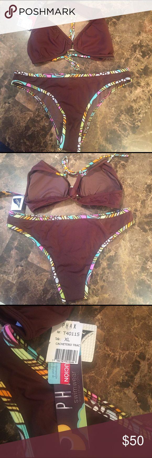 Very cute brown 2 piece PHAX bikini Very cute brown 2 piece PHAX bikini, famous colombian brand ! Enhance your figure with molded foam cups on the top & a sexy moderate rear coverage ! PHAX  Swim Bikinis