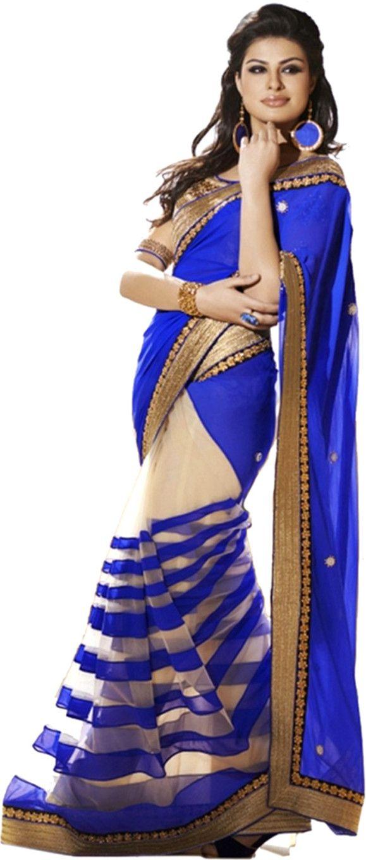 Saree blouse design new natwar creations self design bollywood georgette sari  buy purple