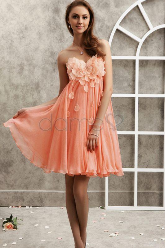 Herz-Ausschnitt Chiffon Organza Rechteck gerüschtes trägerloses kurzes Homecoming Kleid