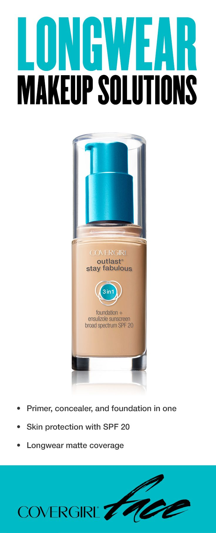 For a matte, longwear look that lasts, try makeup that fuses primer, concealer, and foundation in one easy step. Outlast Stay Fabulous 3-in-1 Foundation gives skin a matte finish that doesn't look heavy, unlike other matte foundations.• Primer, concealer, and foundation in one • Skin protection with SPF 20 • Longwear matte coverage
