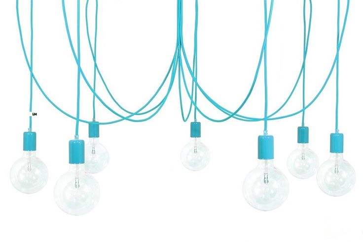 Żyrandol kolorowe kable w oplocie turkusowym imindesign - Lampy wiszące - zdjęcia, pomysły, inspiracje - Homebook