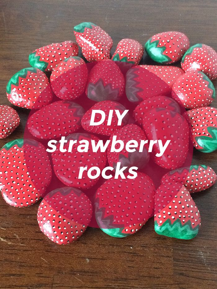 Make strawberry rocks to keep the birds away from your garden!