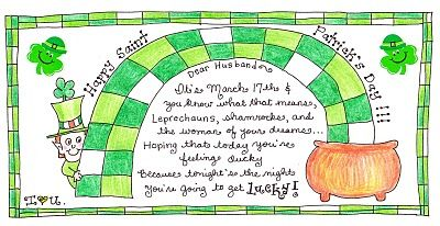 ...a great little idea to celebrate St. Pat's Day with your lucky man! FREE Printable! This is ADORABLE!