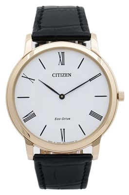 1ac3152fbe8 AR1113-12B - Citizen Eco-Drive Stilleto Super Thin Men s Watch with Black  Leather Strap and White Dial