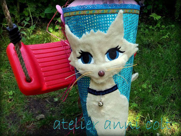 Schultüten - Schultüte Katze Türkis 85cm - ein Designerstück von annicolt bei DaWanda