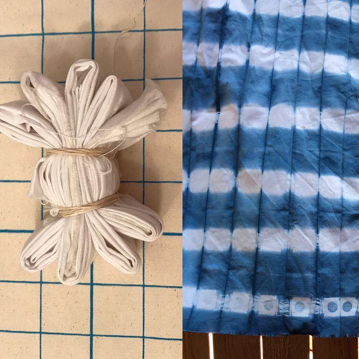 Results! square resist, folded, bound, indigo dyed | Lindamade