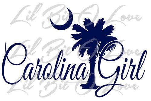 Carolina Girl Vinyl Decal with Palmetto and Moon Sticker Palm Tree Car | LilBitOLove - Housewares on ArtFire