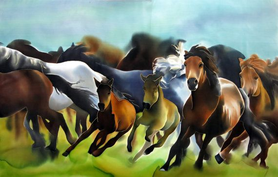 Horses Silk Painting  Herd of Wild Running Horses Hand by SilkMood