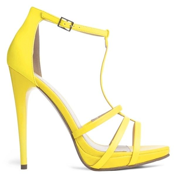 Carvela Jennie Neon Yellow Heeled Sandal ($130) ❤ liked on Polyvore featuring shoes, sandals, heels, sapatos, yellow, neon sandals, t-bar sandals, yellow shoes, t strap high heel sandals and neon heel sandals