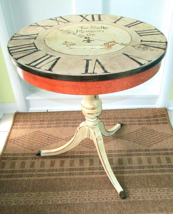 Hand Painted Table  Clock Table  Decorative painted  by MollieBurd, $375.00
