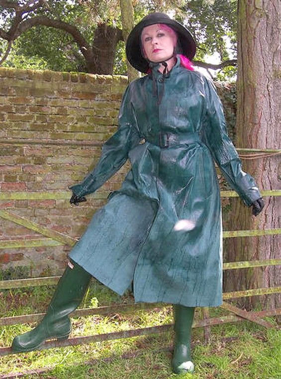 Storm proof in her rubber mackintosh, sou'wester and ...