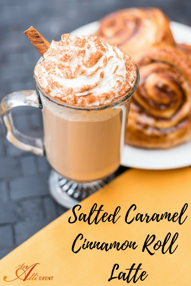 Make this delicious Salted Caramel Cinnamon Roll Latte to enjoy at home! Perfect for an afternoon sweet treat!