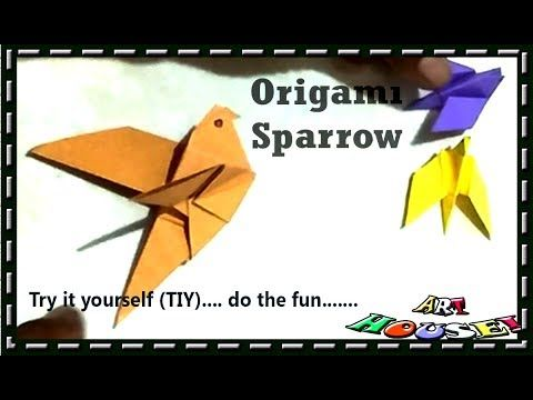 How to make origami flapping bird  Easy paper sparrow  How to make paper...
