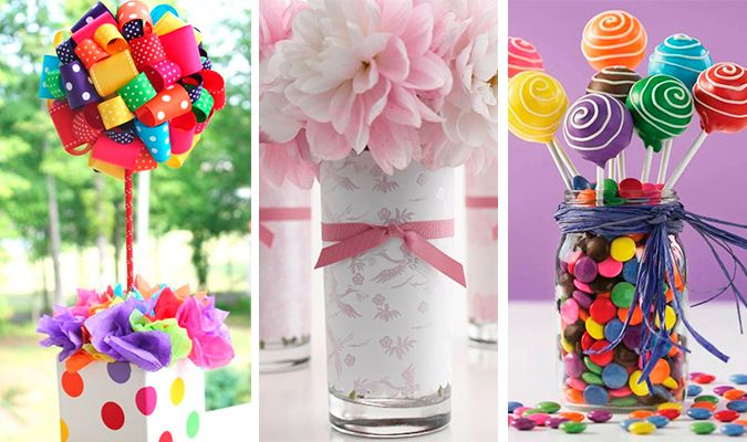 Mais de 30 ideias de centro de mesa para decoração de festa infantil. Fáceis de fazer.