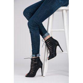 Brokátové členkové topánky s viazaním K522B