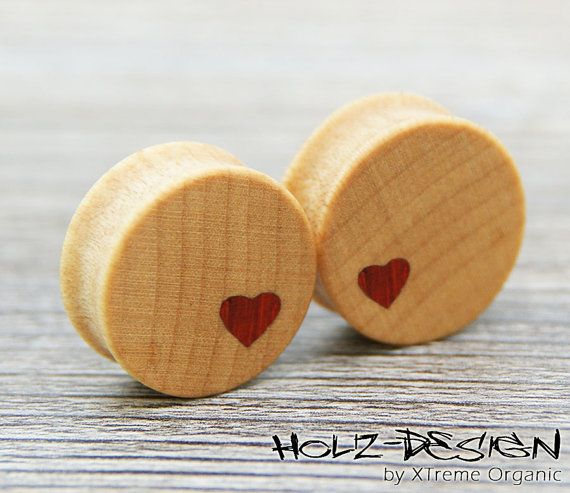 10  70mm Pair wooden Heart Flesh Tunnel plugs by HolzDesignGermany