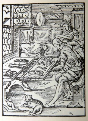 Standbuch 1568 woodcuts of embroiders in shop