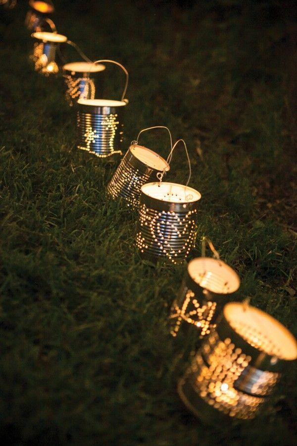 tin can lanterns   (DIY instructions: http://blog.freepeople.com/2012/07/tin-lantern-diy/)