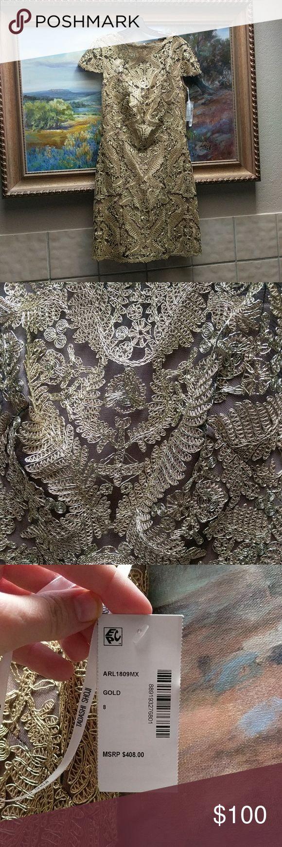 Tadashi Shoji Gold Dress Cap sleeve, knee length Tadashi Shoji Dresses Midi