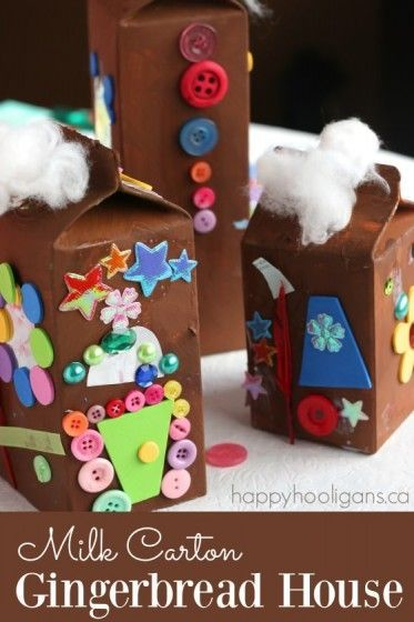 Milk Carton Gingerbread Houses for Kids to Make