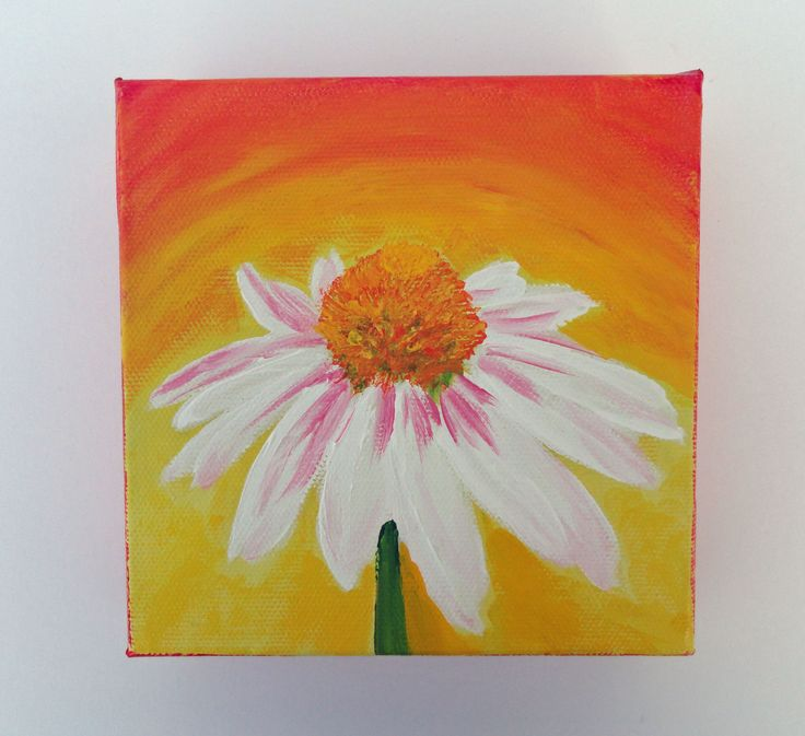 acrylic painting colorful art small canvas art flower by samiamart